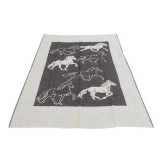 IceWool Grey and Tan Blanket Depicting Horses For Sale