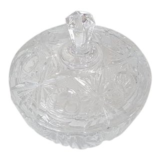 Vintage 1960s Cut Glass Crystal Covered Candy Dish For Sale