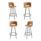 Image of 1960s Vintage Boho Chic Wicker Rattan Swivel Bar Stools – a Set of 4 For Sale