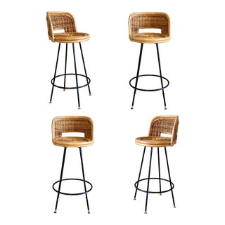 1960s Vintage Boho Chic Wicker Rattan Swivel Bar Stools – a Set of 4 For Sale