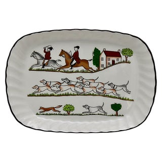 Wedgwood English Hunting Scene Butter Tray For Sale