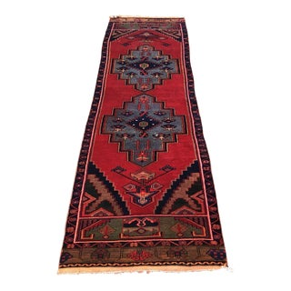 1980s Turkish Oushak Medallion Red Wool Rug - 8′10″ × 2′7″ For Sale