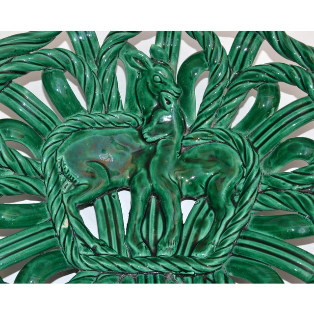 1950s Vallauris France Glazed Woven Ceramic Basket Emerald Green Bambi 1955, Pottery For Sale - Image 5 of 13