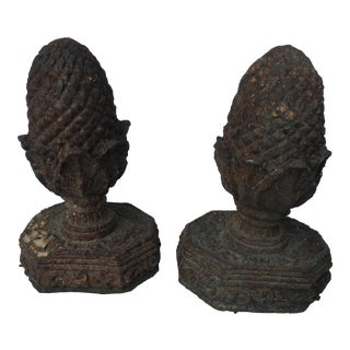 Old French Rusty Garden Finials, A Pair