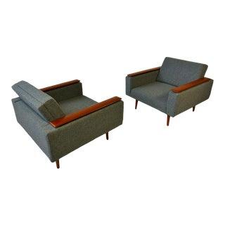 1960s Danish Modern Sleek Low Lounge Chairs - a Pair For Sale