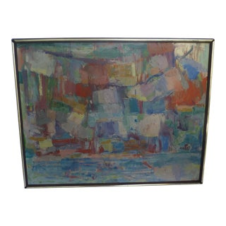 Signed Abstract Oil Painting by Jean Gunther, Listed Artist