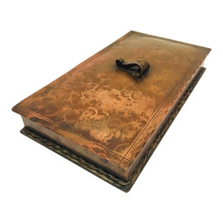 1950s Copper Hammered Metal Brutalist Lidded Box For Sale