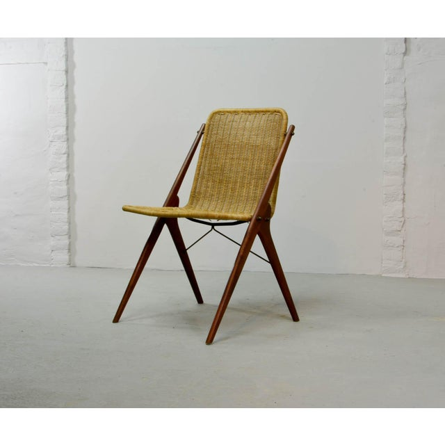 Dutch Design Wicker and Teak Wood Side Chair in Style of Dirk van Sliedregt, 1950s For Sale - Image 12 of 12