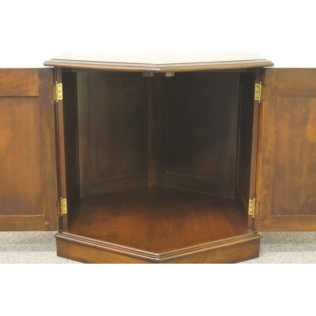 20th Century British Colonial Kling Solid Cherry Hexagonal Storage End Table For Sale - Image 10 of 13