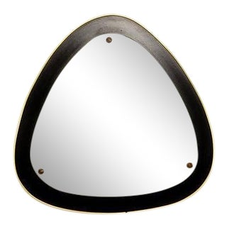 1950s Italian Curvilinear Brass and Ebonized Wood Mirror, Mid-Century Modern For Sale