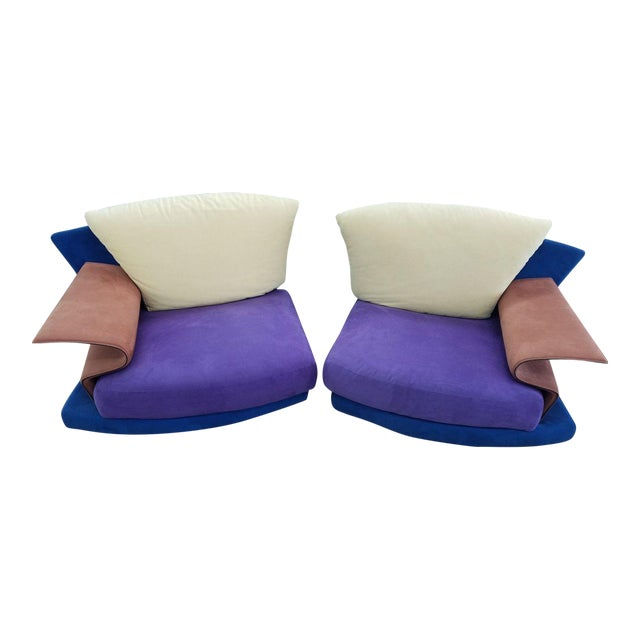 1990s Vintage Saporiti Modern Lounge Chairs - A Pair For Sale