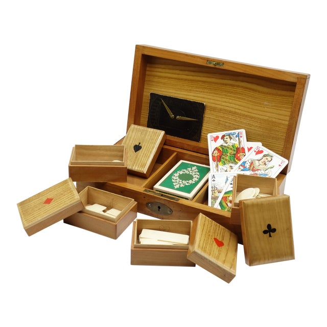 Antique English Games Box & Contents For Sale