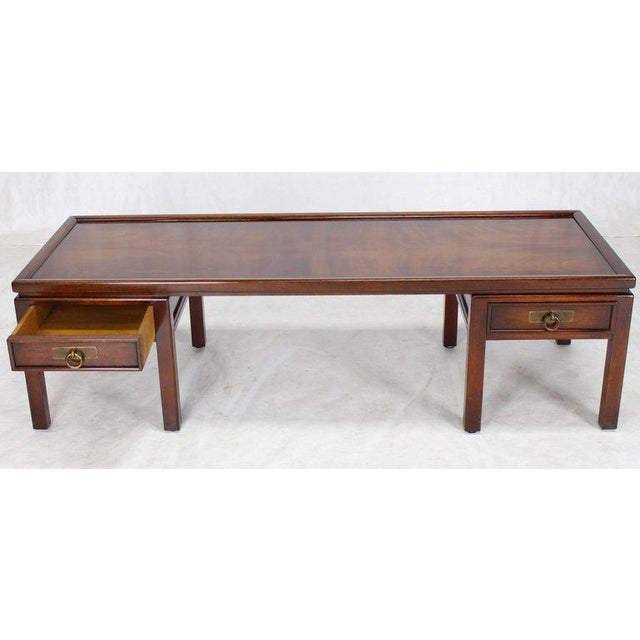 Brown Mahogany Double Pedestal Two Drawers Rectangular Coffee Table For Sale - Image 8 of 8