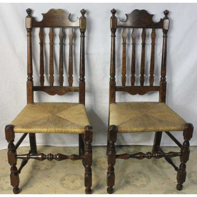 Antique Side Chairs With Rush Seats - a Pair - Image 2 of 6 - Antique Side Chairs With Rush Seats - A Pair Chairish