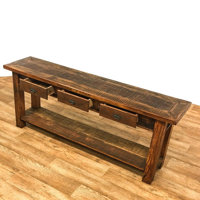 Iron Reclaimed Wood Console Table For Sale - Image 7 of 8