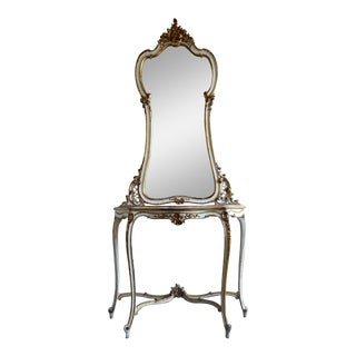Louis XV Style Painted Mirror and Console