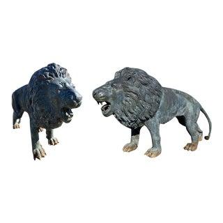 Bronze Lion Garden Statue - A Pair For Sale