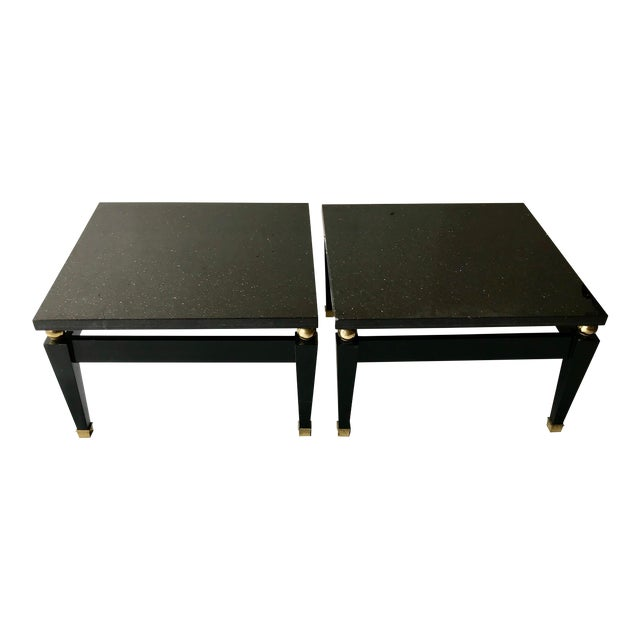 1980's Art Deco Black Lacquer Side Tables - a Pair For Sale