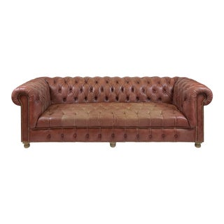 Timothy Oulton Aged Red Leather Chesterfield For Sale