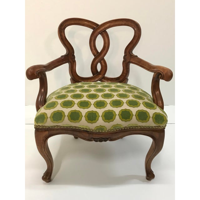 Early 20th Century Hand Carved Satin Wood Italian Vanity Chair Cabriole Leg For Sale - Image 12 of 12