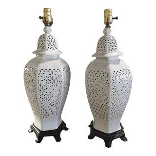 Pierced Chine De Blanc Asian Table Lamps - A Pair For Sale