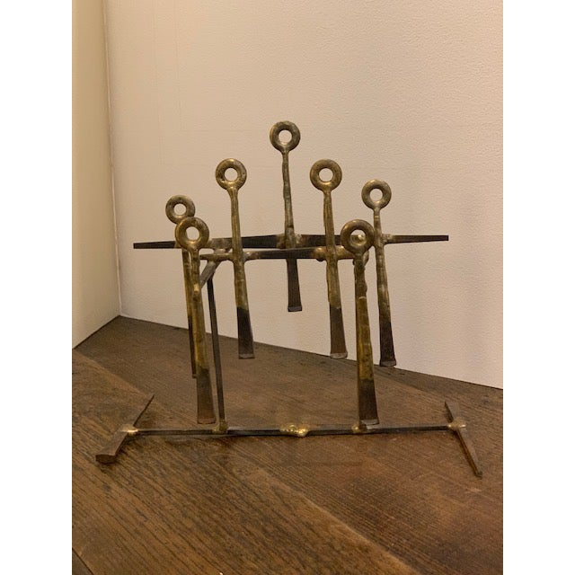 Abstract Mid-Century Modern Brass Sculpture For Sale - Image 3 of 3