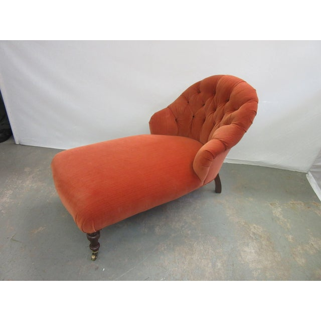 1970's Vintage Hancock and Moore Orange Velvet Chaise For Sale - Image 9 of 9