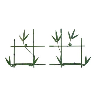 1960s Vintage Green Metal Bamboo Design Hanging Display Racks - a Pair For Sale