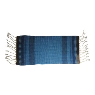 Small Blue Hand Woven Wool Textile Sample For Sale