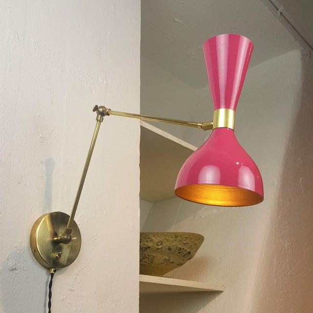 Aluminum Blueprint Lighting Italian Modern Brass & Enamel Sconce *Custom Colors* For Sale - Image 7 of 8
