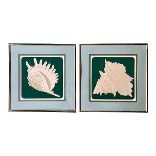 1980s Woodard Embossed Framed Shell Prints - A Pair For Sale