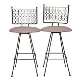 Image of Arthur Umanoff Wrought Iron Bar Stools - A Pair For Sale