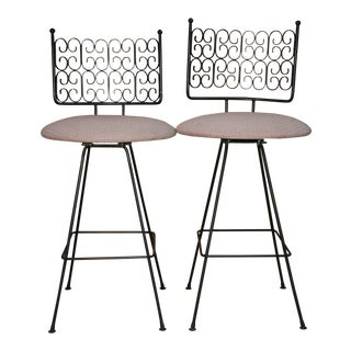 Arthur Umanoff Wrought Iron Bar Stools - A Pair