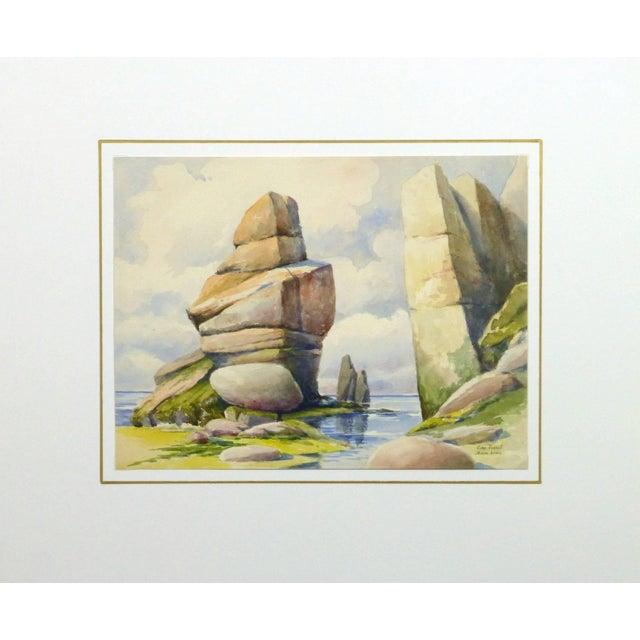S. Lefevre Goux, Vintage French Watercolor Seascape - Cape Fréhel, Brittany, France For Sale - Image 4 of 5