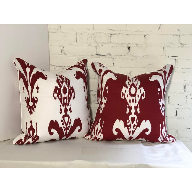Red Pair of Red and White Ikat Pillows by Jim Thompson For Sale - Image 8 of 10