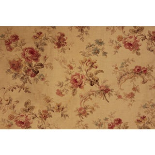 Curtain Antique French 1890 Victorian Drape Floral Pattern With Lovely Trim Long For Sale