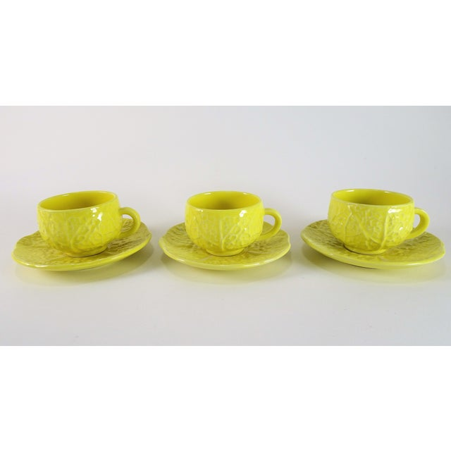 Vintage Yellow Cabbage Majolica Tea Cup and Saucer - Service for 3 For Sale - Image 10 of 10