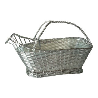 Christofle France Hand Woven Silverplate Wine Basket For Sale