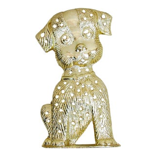 1970s Gold Puppy Earring Tree / Holder For Sale