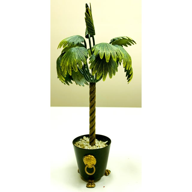 Pair of Hollywood Regency Petite Choses Cold Painted Bronze Palm Trees For Sale In Atlanta - Image 6 of 9