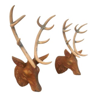 Vintage Life Size Red Stag Wall Sculptures - A Pair
