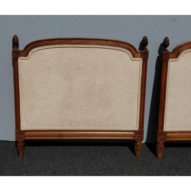 1950s Pair of Vintage French Country Tan Twin Headboards Low Profile For Sale - Image 5 of 13