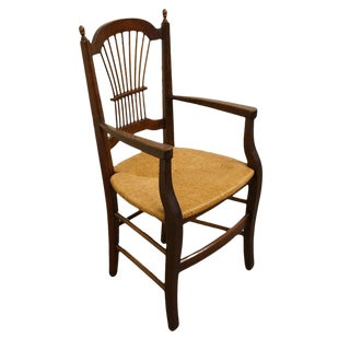 20th Century Early American Solid Cherry Wheat Back Dining Arm Chair For Sale
