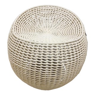 Chinoiserie Palacek Outdoor Open Weave Wicker Swivel Stool For Sale
