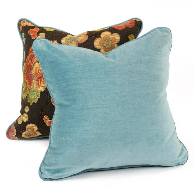 """A 15"""" pillow set featuring a cherry blossom floral print fabric with back and piping in a complementing aqua velvet. The..."""