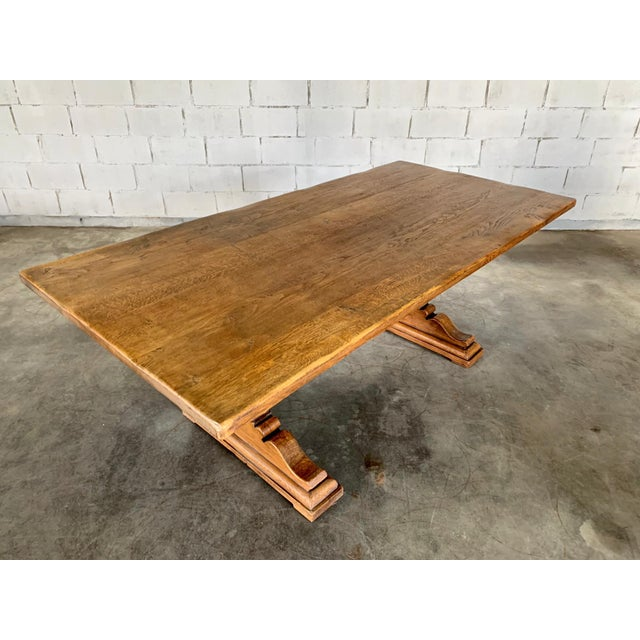 Antique French Farmhouse Solid Oak Wood Trestle Dining Table 19th C. For Sale - Image 9 of 13