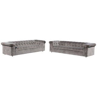Mid-Century Modern Dunbar Model 7160 X-Long Party Tufted Velvet Sofas - a Pair For Sale