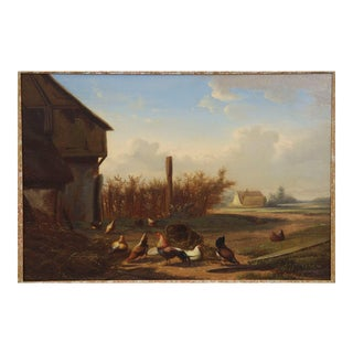 19th Century Antique Landscape Painting of Chickens by Barn by Johan Leemputten For Sale