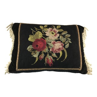 Black Flower Needlepoint Pillow With Fringe For Sale