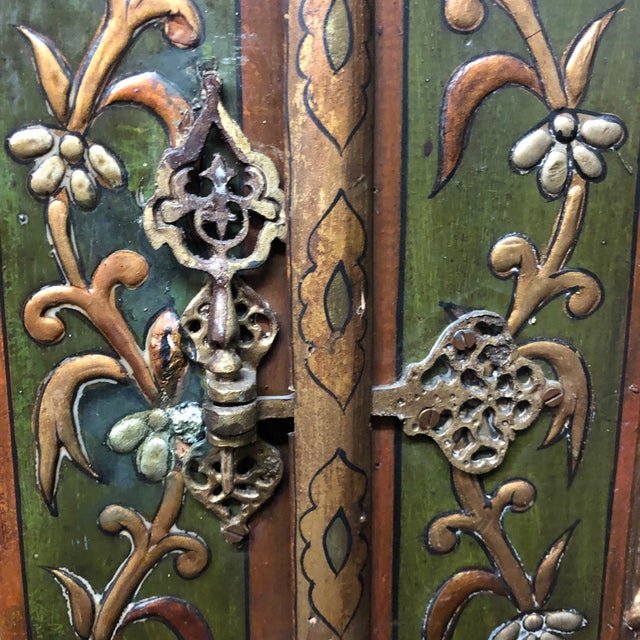 1940s Vintage Hand-Painted Ottoman Style Wood Panel / Door For Sale In Los Angeles - Image 6 of 10